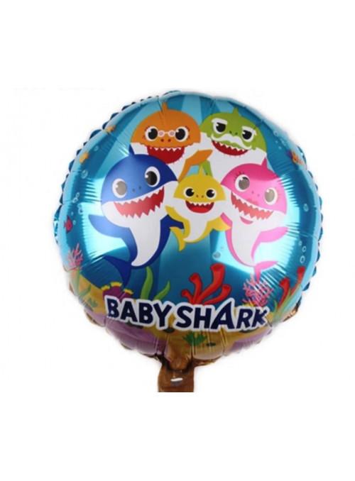 Bexiga Balão Metalizado Baby Shark 18 Polegadas 45cm