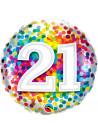 Balão Metalizado Aniversário 21 Anos Colorido Qualatex 46cm