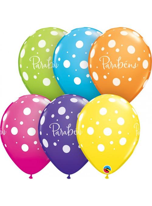 Bexiga Balão Parabéns Pontos 11 Polegadas 28cm Qualatex 6 unidades