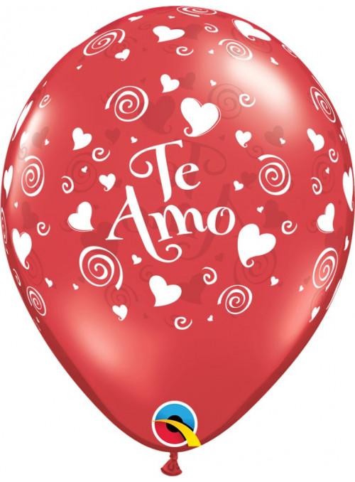 Bexiga Balão Te Amo Corações 11 Polegadas 28cm Qualatex 6 unidades