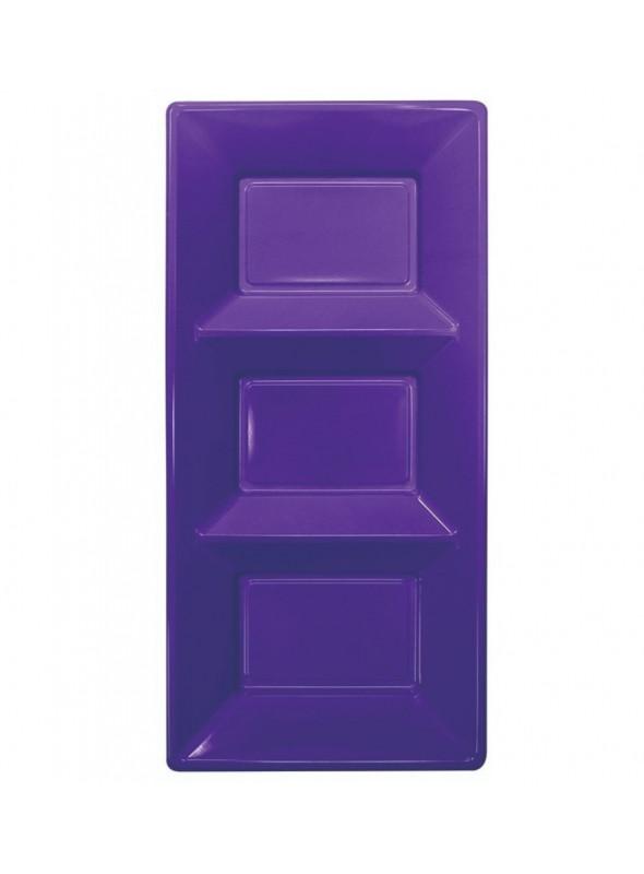 Petisqueira Descartável de Luxo Roxo – 3 unidades