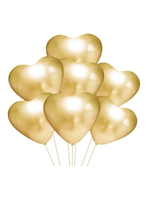 Balão de Látex Coração Cromado Platino Ouro 25cm 25 Unidades
