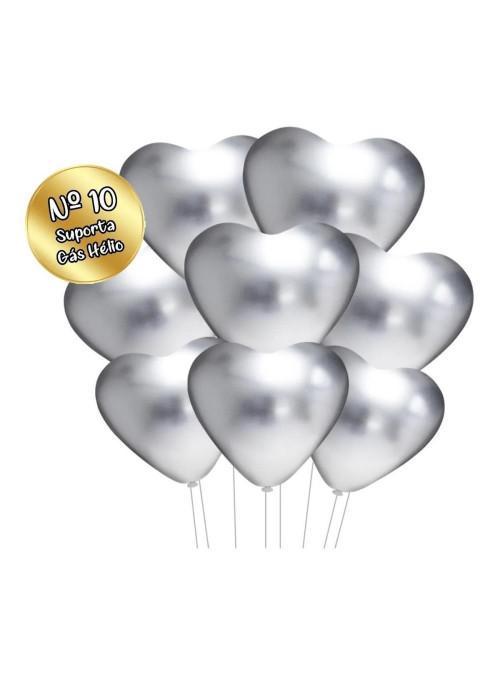 Balão de Látex Coração Cromado Platino Vermelho 25cm 25 Unidades