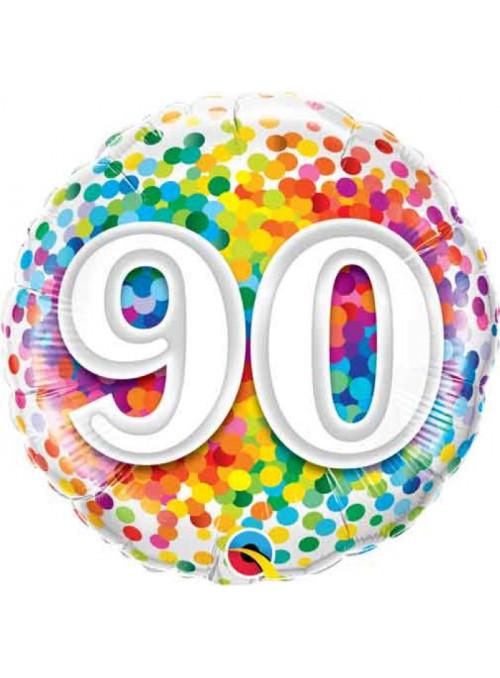 Balão Metalizado Aniversário 90 Anos Colorido 46cm Qualatex