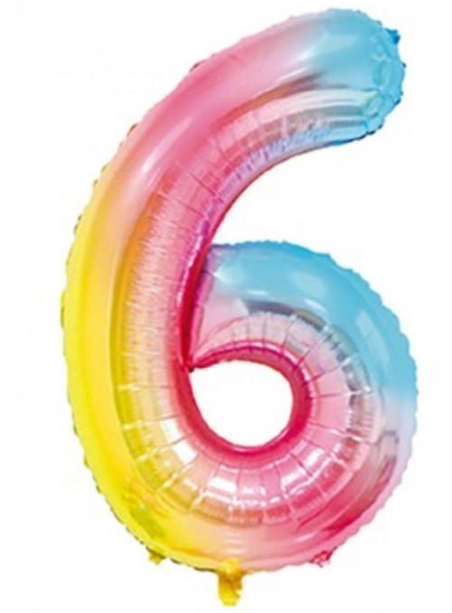 Balão Metalizado Número 0 Colorido Degradê 40 Polegadas 101cm