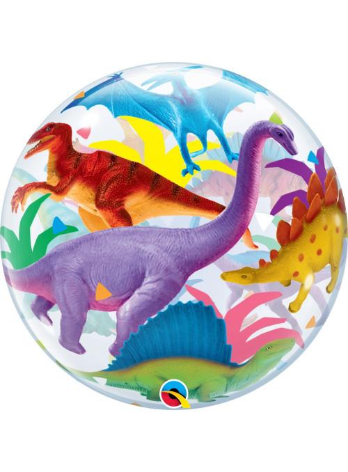 Balão Bubble Dinossauros Coloridos 22 Polegadas 56cm Qualatex