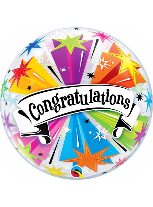 Balão Bubble Parabéns Explosão 22 Polegadas 56cm Qualatex