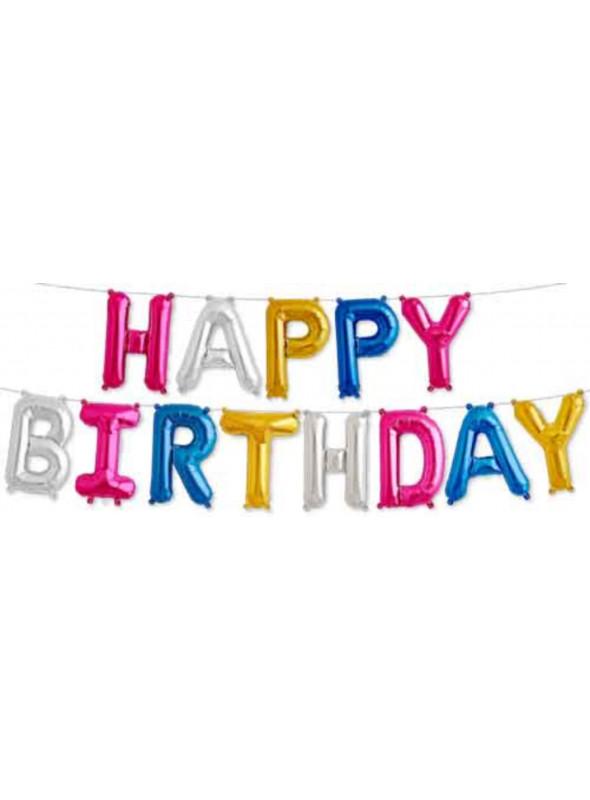Kit Balões Happy Birthday Colorido 16 Polegadas North Star Balloons
