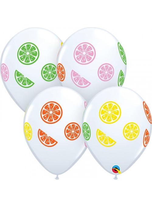 Balão de Látex Rodela de Frutas 11 Polegadas 28cm Qualatex 10 unidades