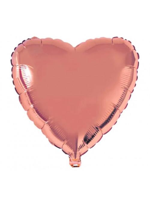 Balão Metalizado Coração Rose Gold 32 Polegadas 80cm