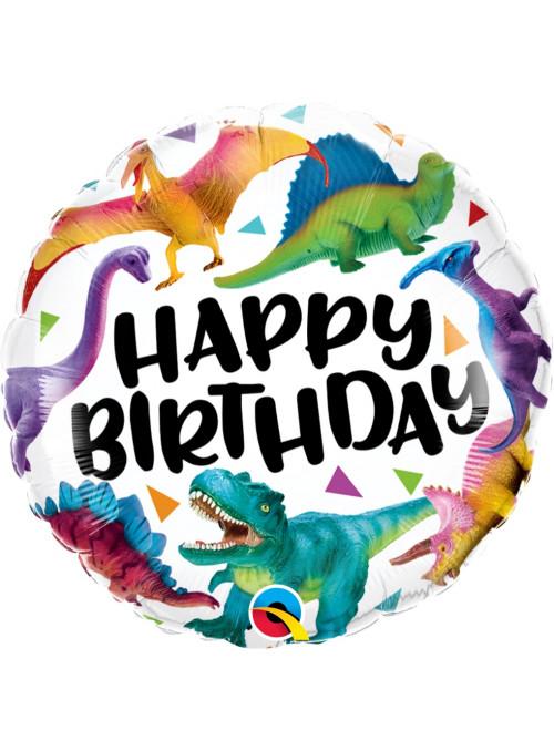 Balão Metalizado Aniversário Dinossauros Coloridos 46cm Qualatex