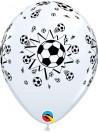Balão de Látex Bolas de Futebol 11 Polegadas 28cm Qualatex - 6 unidades