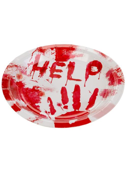 Pratos de Papel Descartáveis Halloween Ajuda 18cm Silver Festas - 10 unidades