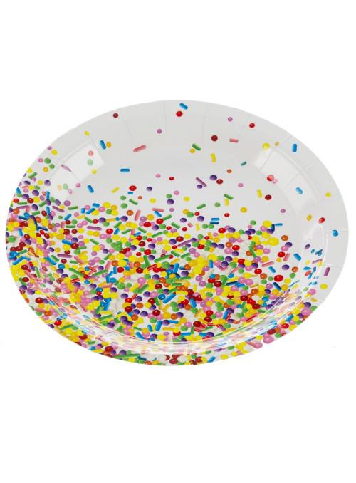 Pratos de Papel Descartáveis Confetes Coloridos 18cm Silver Festas 10 unidades