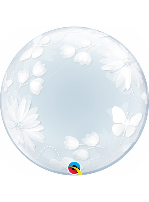 Balão Bubble Transparente Borboletas e Flores 51cm Qualatex