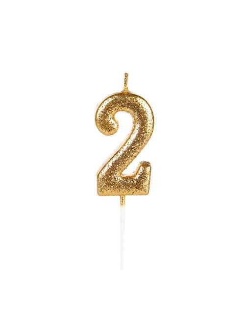 Vela de Aniversário Número 2 Glitter Dourado 4,5cm