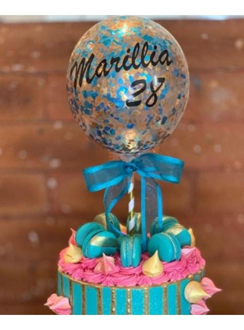 Balão Cake Topper com Confetes Personalizado - 1 unidade