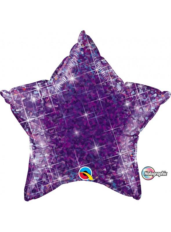 Balão Metalizado Estrela Holográfica Roxo