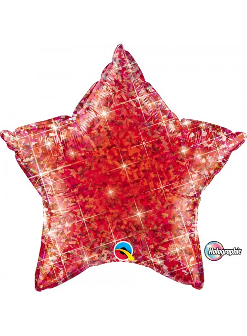 Balão Metalizado Estrela Holográfica Vermelho