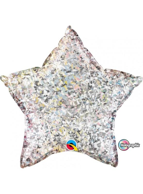 Balão Metalizado Estrela Holográfica Prata