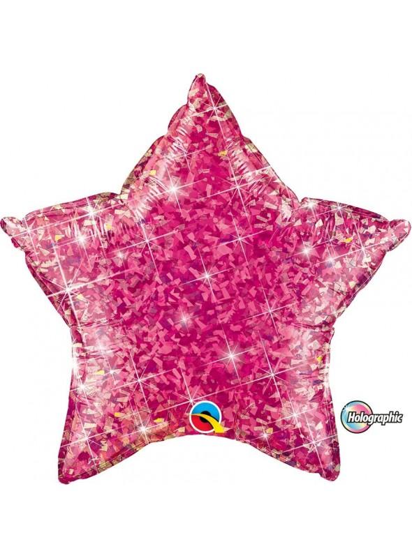 Balão Metalizado Estrela Holográfica Rosa