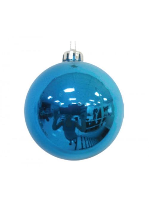 Kit 6 Bolas Natalinas Azul Metálico 50mm Decoração de Natal