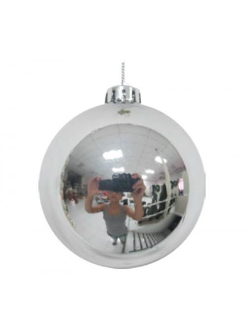Kit 6 Bolas Natalinas Prata Metálico 50mm Decoração de Natal