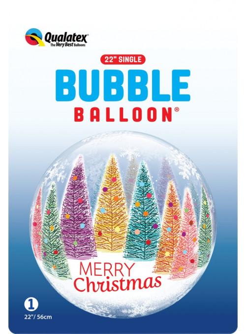 Balão Bubble Bolha Feliz Natal Árvores 22 Polegadas 56cm Qualatex