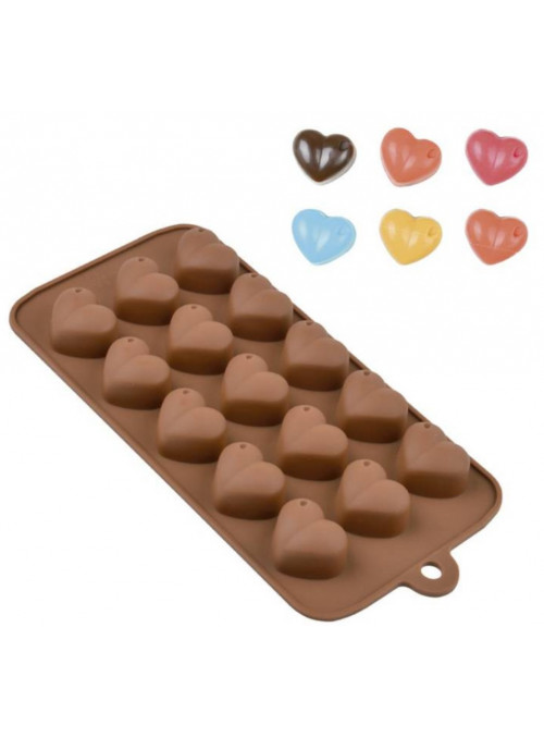 Forma Molde de Silicone para Chocolate Corações Silver Chef