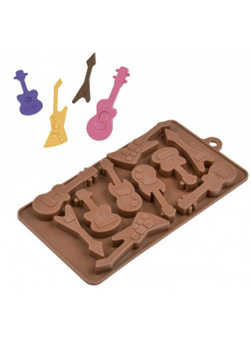 Forma Molde de Silicone para Chocolate Violão e Guitarra Silver Chef