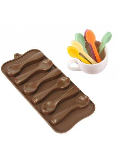 Forma Molde de Silicone para Chocolate Colher Silver Chef