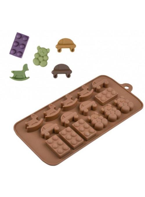 Forma Molde de Silicone para Chocolate Lego Urso Cavalo e Carro Silver Chef
