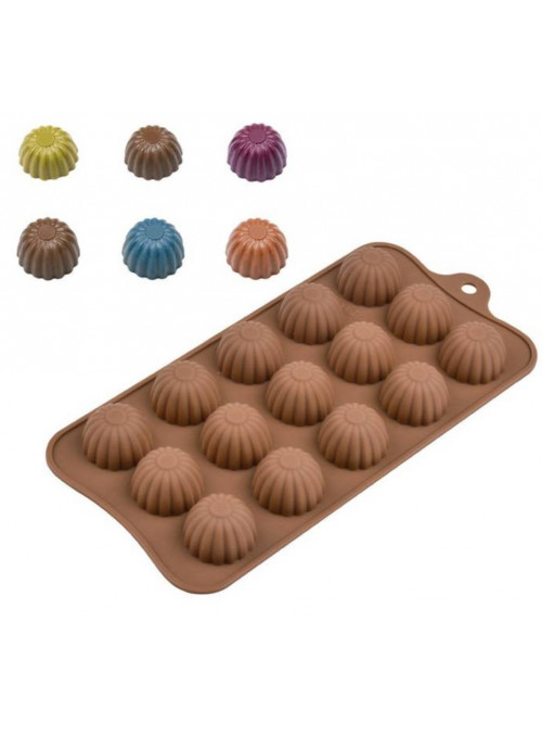 Forma Molde de Silicone para Chocolate Bombons Redondos Silver Chef