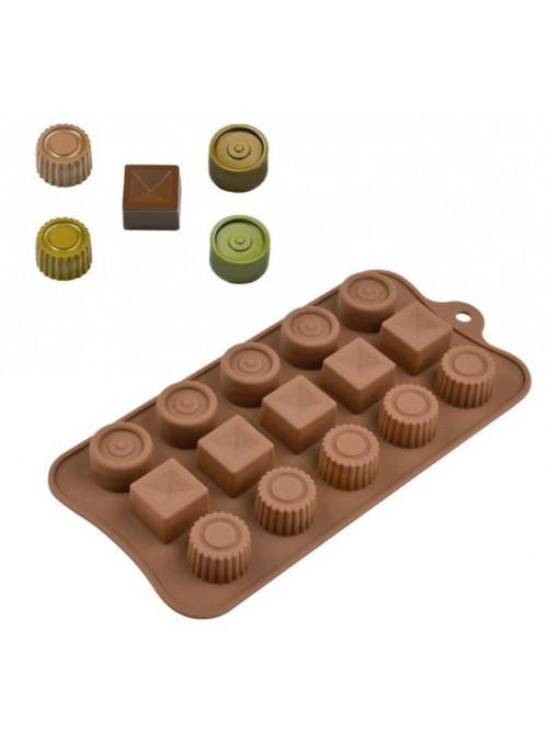 Forma Molde de Silicone para Chocolate Redondo e Quadrado Silver Chef