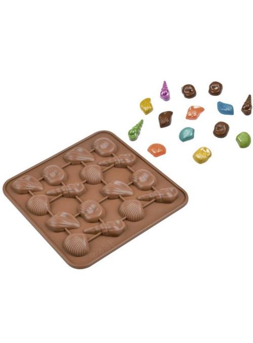 Forma Molde de Silicone para Chocolate Conchas Silver Chef