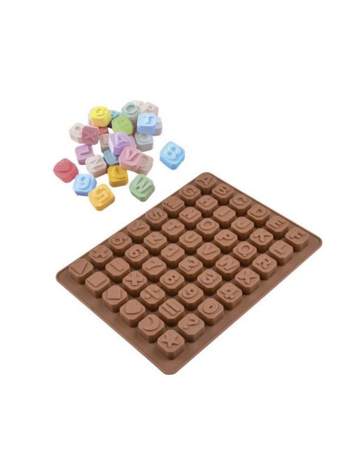 Forma Molde de Silicone para Chocolate Letras Números e Símbolos Silver Chef