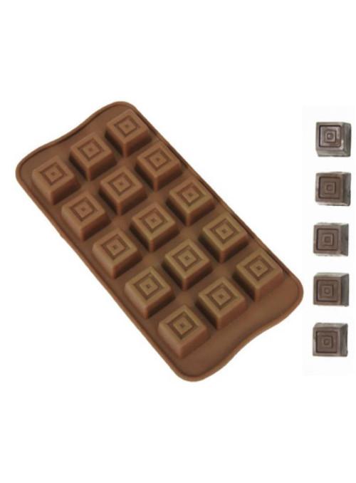 Forma Molde de Silicone para Chocolate Quadrados Silver Chef