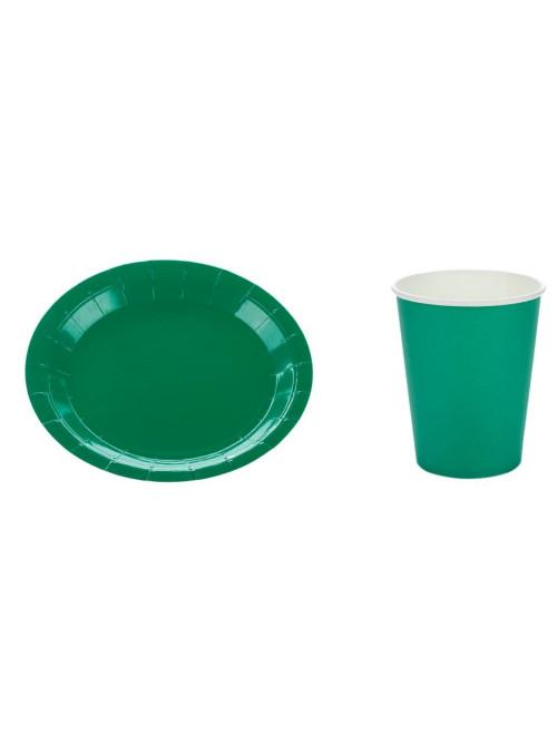 Kit Prato e Copo de Papel Descartáveis de Festa Verde Bandeira Silver Festas - 10 unidades de cada