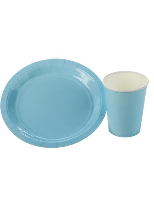 Kit Prato e Copo de Papel Descartáveis de Festa Azul Claro Silver Festas - 10 unidades de cada