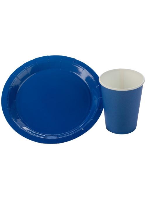 Kit Prato e Copo de Papel Descartáveis de Festa Azul Escuro Silver Festas - 10 unidades de cada