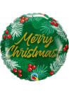 Balão Metalizado Feliz Natal Folhas 46cm Qualatex