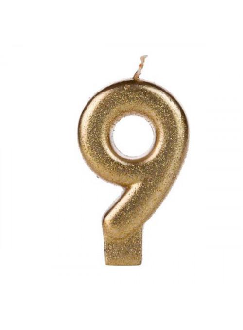 Vela De Aniversário Número 9 Dourada Glitter Silver Festas