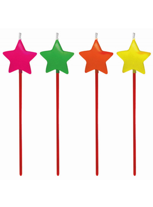 Vela de Aniversário Estrela Neon 14cm Altura Silver Festas 4 Unidades