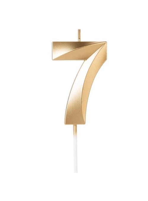 Vela de Aniversário Design Número 7 Dourada Perolizada Silver Festas
