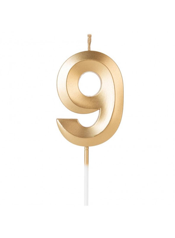 Vela de Aniversário Design Número 9 Dourada Perolizada Silver Festas