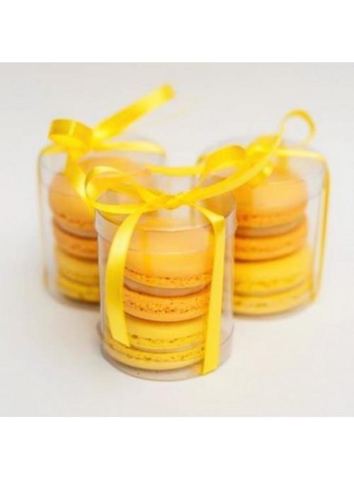 Caixa Tubular Transparente para Doces Macarons 5x5cm 12 Unidades