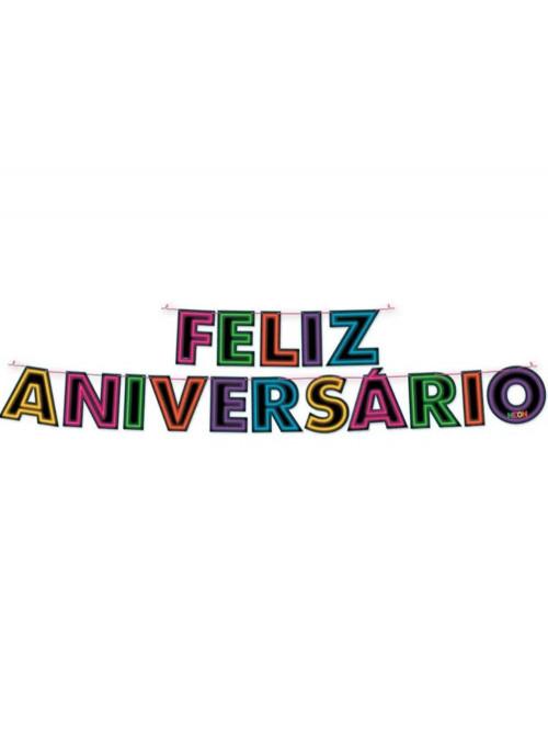 Faixa Feliz Aniversário Festa Neon Festcolor
