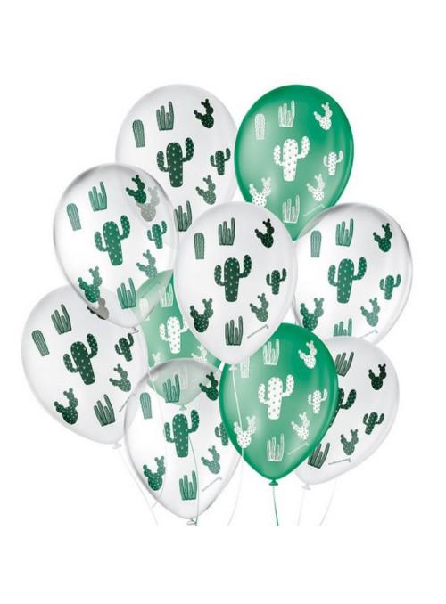 Balões de Látex Cactos Sortidos 9 Polegadas 23cm São Roque 25 Unidades