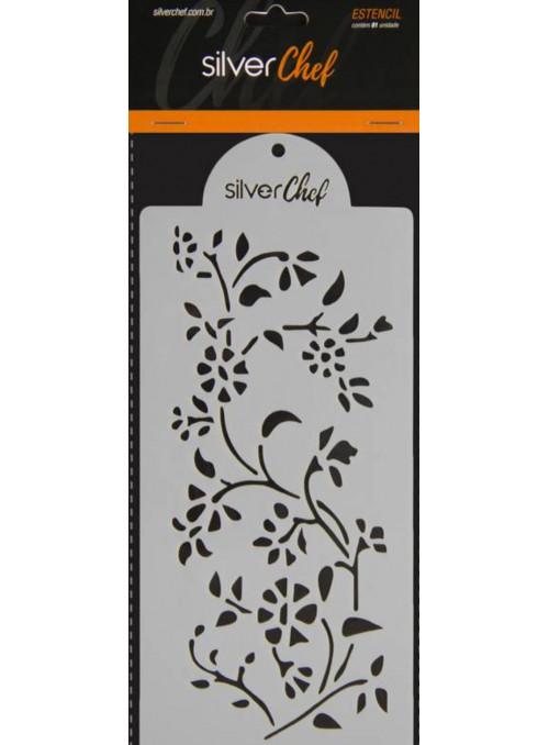 Estêncil de Plástico Floral Confeitaria Silver Chef