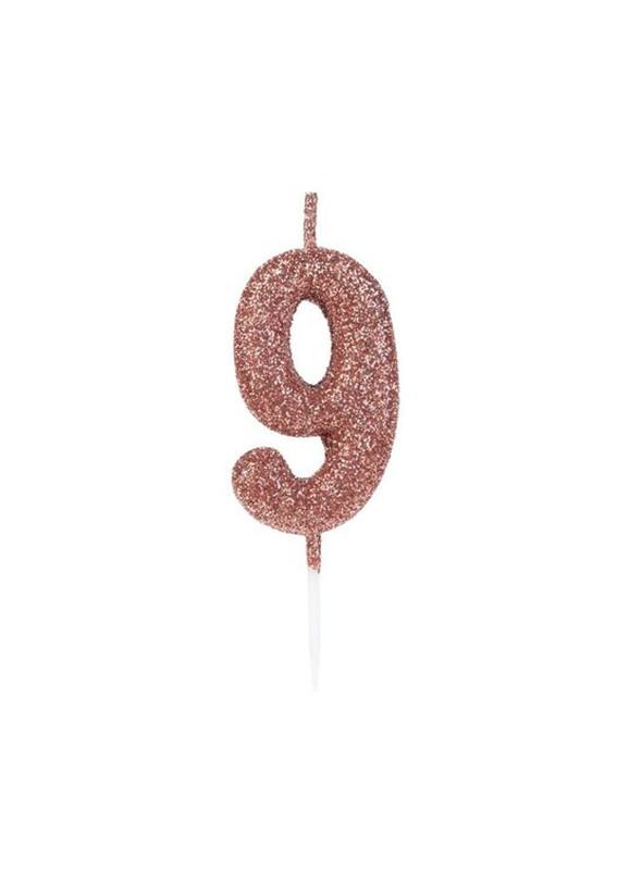 Vela de Aniversário Número 9 Glitter Rose Gold 4,5cm